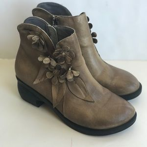 Brown Leather Floral Ankle Boots